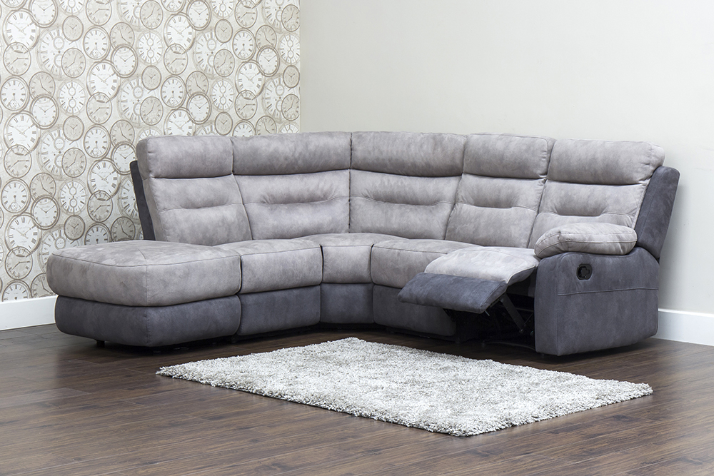 Dillon Fabric Corner Sofa Grey/Smoke